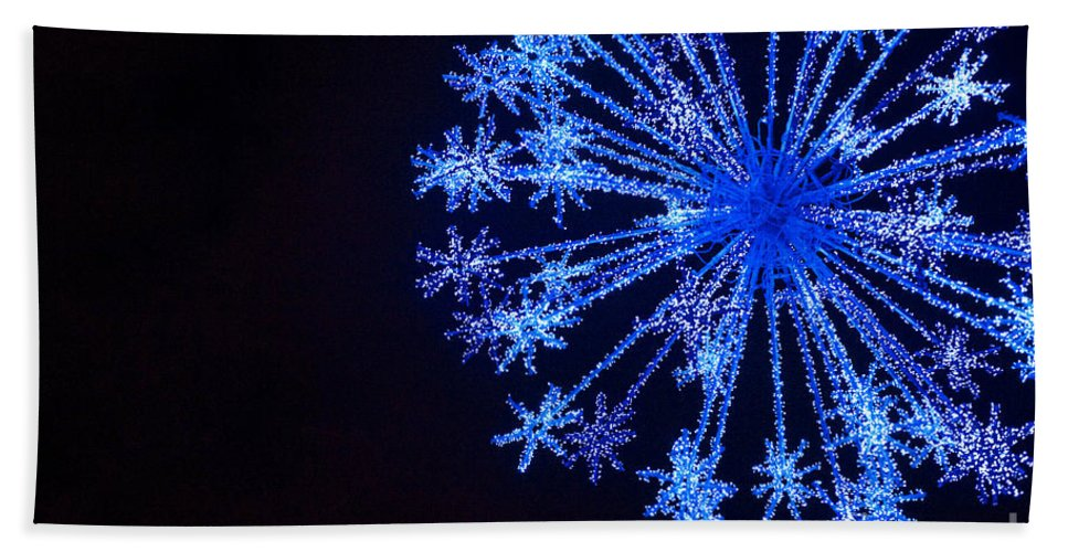 Blue Bath Sheet featuring the photograph Snowflake Sparkle by Anca Jugarean