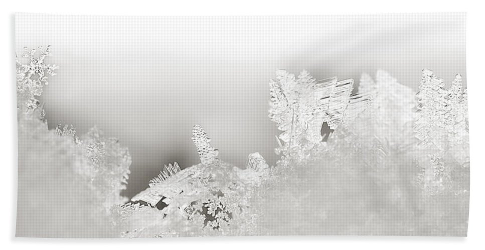 Snowflakes Bath Sheet featuring the photograph Snowland Bw by Beth Riser