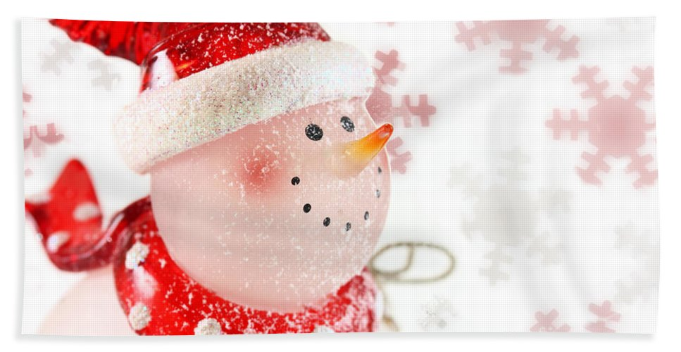 Background Hand Towel featuring the photograph Snowman With Snowflakes by Simon Bratt Photography LRPS