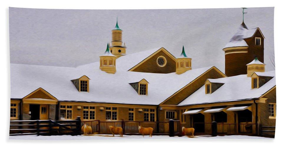 Snowy Day At Erdenheim Farm Bath Sheet featuring the photograph Snowy Day At Erdenheim Farm by Bill Cannon