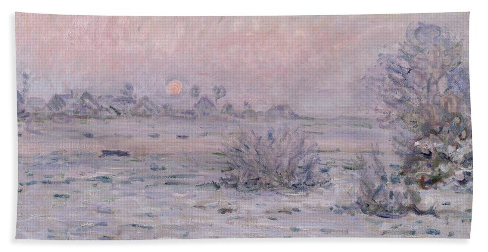 Claude Monet Hand Towel featuring the painting Snowy Landscape At Twilight by Claude Monet
