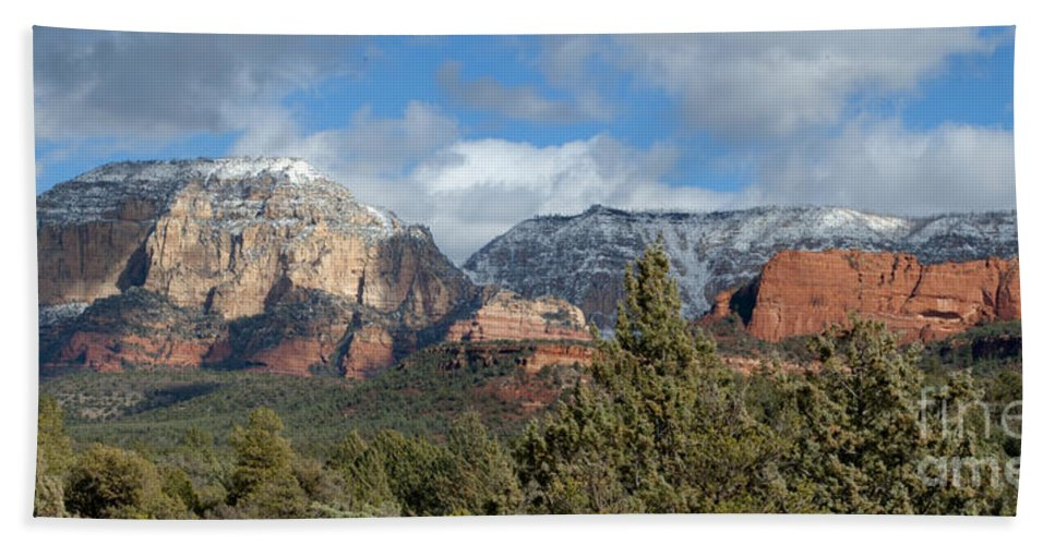 Southwest Hand Towel featuring the photograph Snowy Sedona Afternoon by Sandra Bronstein