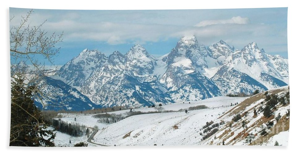 Snow Bath Sheet featuring the photograph Snowy Tetons by Lucy Bounds