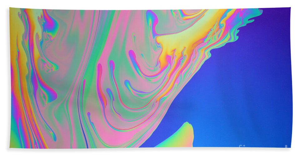 White Light Hand Towel featuring the photograph Soap Film by Ted Kinsman