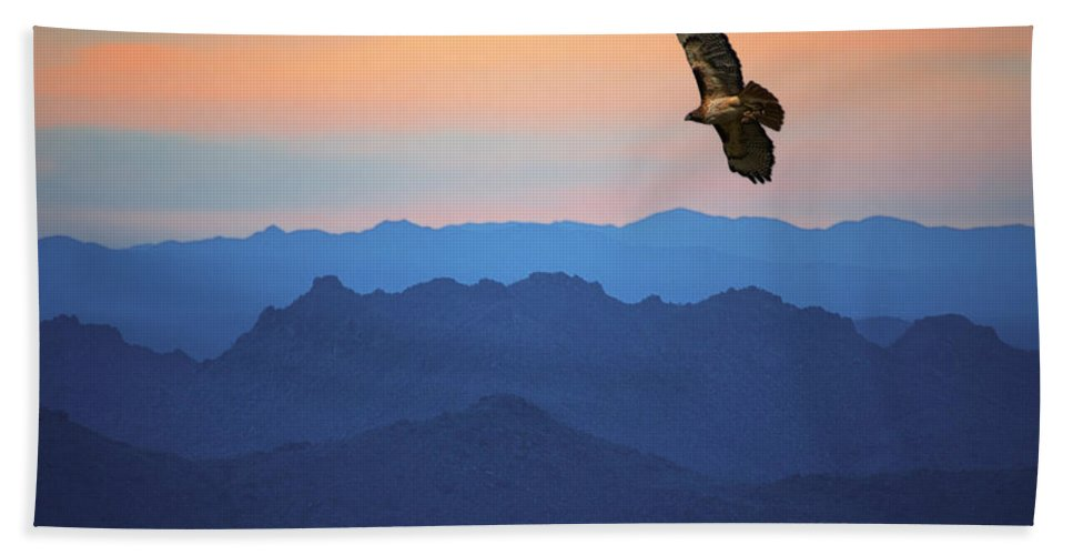 Art Bath Sheet featuring the photograph Soaring Red Tailed Hawk At Sunset by Randall Nyhof