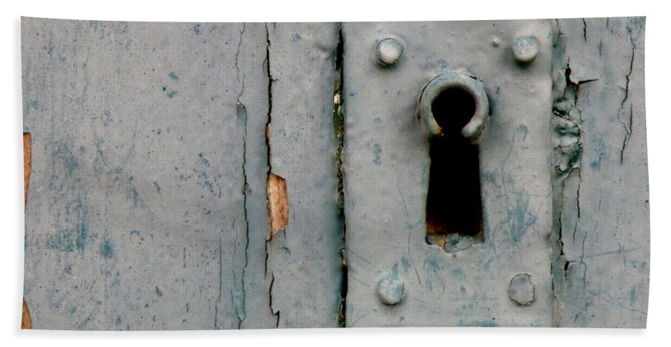 Door Hand Towel featuring the photograph Soft Blue Door And Lock by Lainie Wrightson