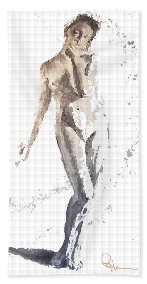 Female Figure Hand Towel featuring the mixed media Soft by Rachel Hames