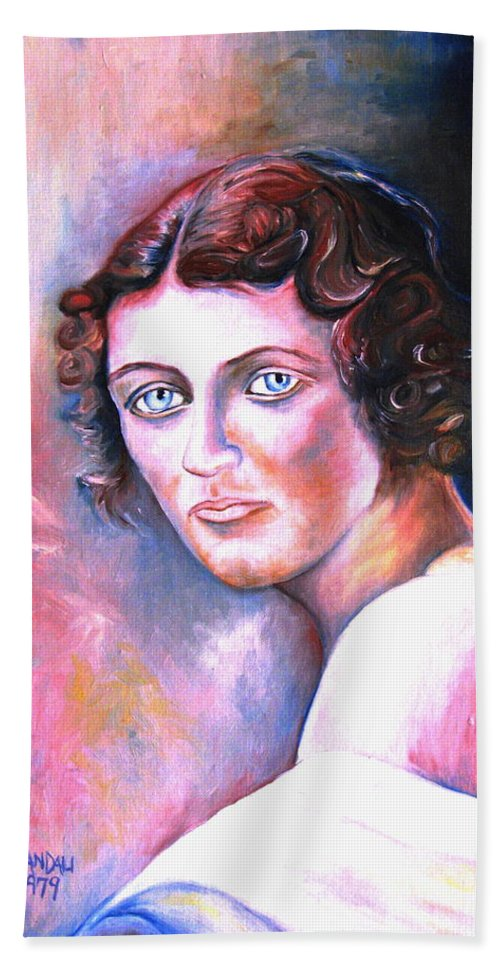 Portrait Hand Towel featuring the painting Soft Shoulder by Carole Spandau