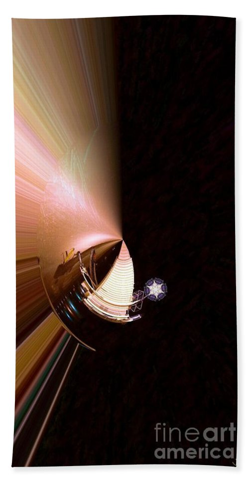 Abstract Bath Sheet featuring the digital art Solar Sail Side by Ron Bissett
