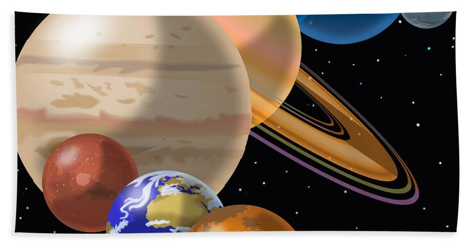 Solar System Montage Hand Towel featuring the drawing Solar System by Mark Giles and Photo Researchers