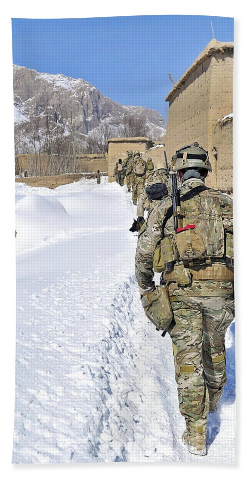 Patrol Hand Towel featuring the photograph Soldiers Conduct A Patrol In Shah Joy by Stocktrek Images