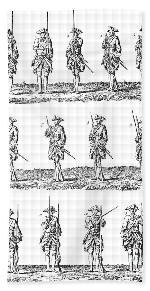 18th Century Hand Towel featuring the photograph Soldiers: Infantry Drill by Granger