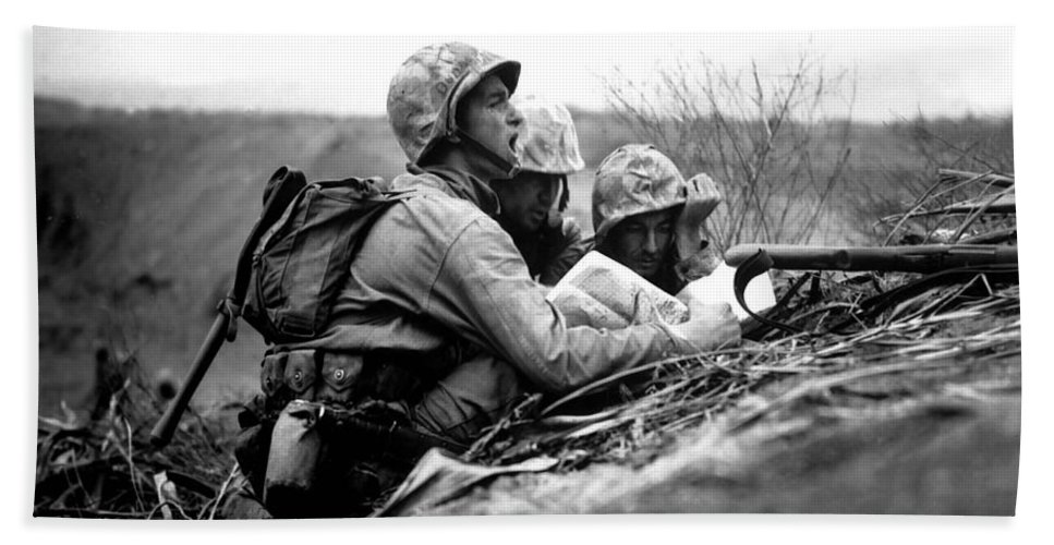 Black And White Hand Towel featuring the photograph Soldiers Locate Enemy Position On A Map by Stocktrek Images