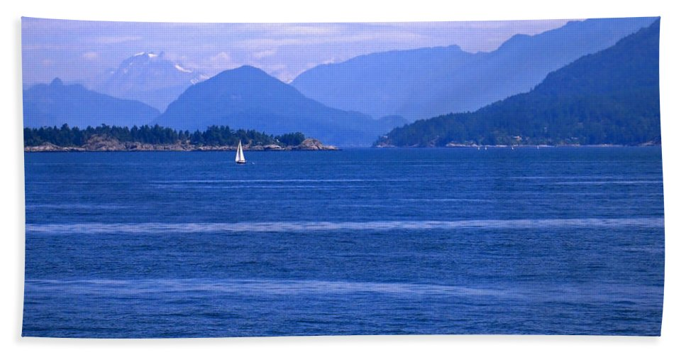 Sailboat Hand Towel featuring the photograph Solitary Sailing by Ann Horn