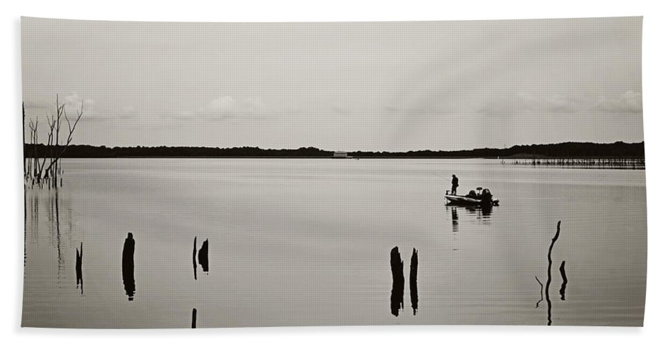 Solitude Fishing Manasquan Reservoir Hand Towel featuring the photograph Solitude Fishing Manasquan Reservoir by Terry DeLuco