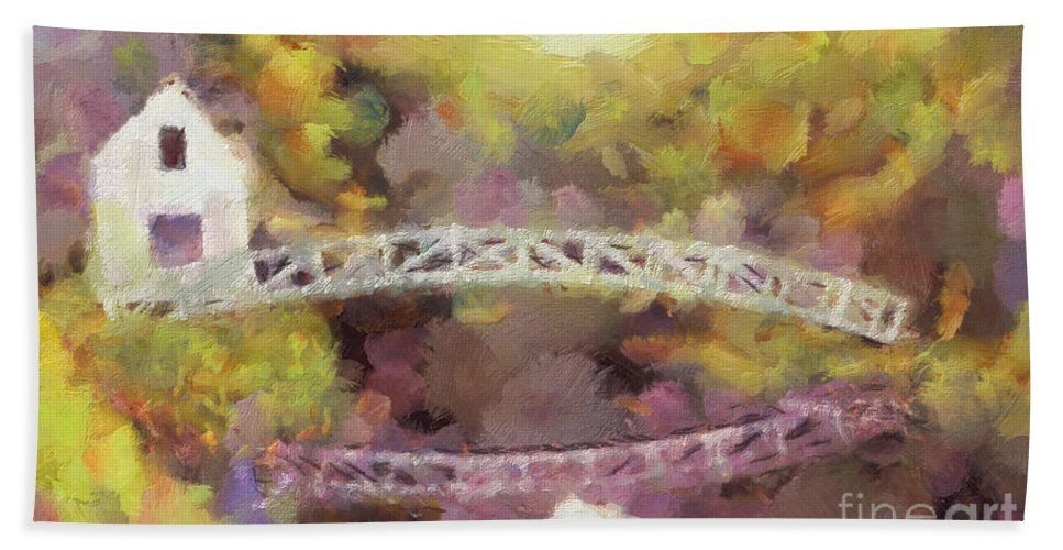 Bridge Hand Towel featuring the painting Somes Bridge - Somesville Maine by Anne Kitzman