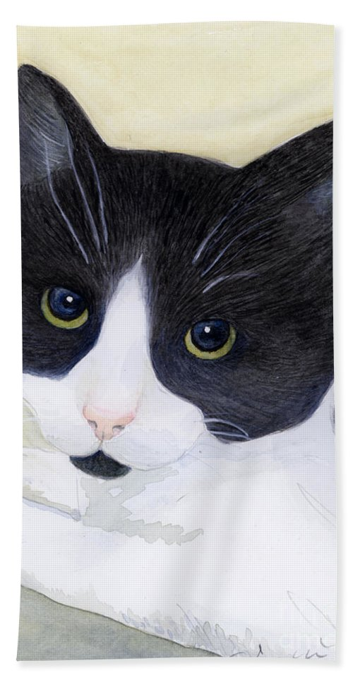 Cat Bath Sheet featuring the painting Sophie by Jackie Irwin
