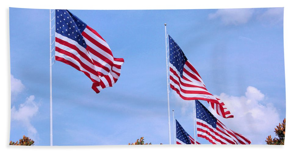 American Flag Hand Towel featuring the photograph Southern Skies by Kristin Elmquist