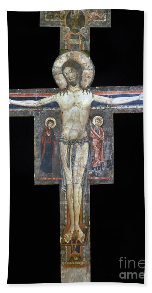 13th Century Hand Towel featuring the photograph Sozio: Crucifix, 13th C by Granger