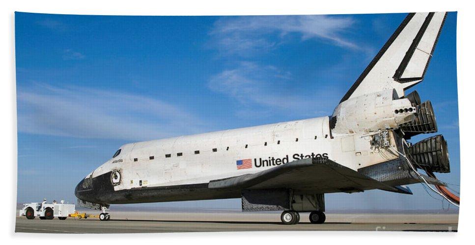 Atlantis Bath Sheet featuring the photograph Space Shuttle Atlantis by Stocktrek Images