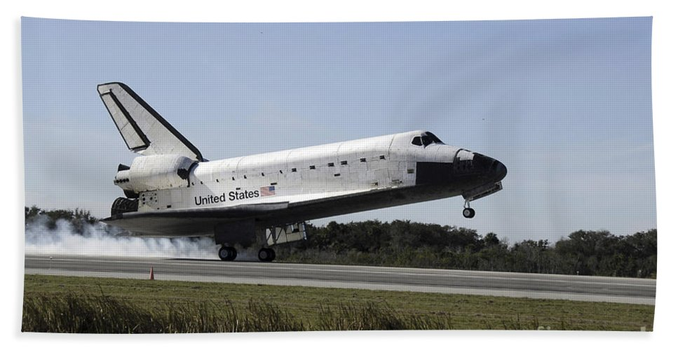 Ov-104 Bath Sheet featuring the photograph Space Shuttle Atlantis Touches by Stocktrek Images