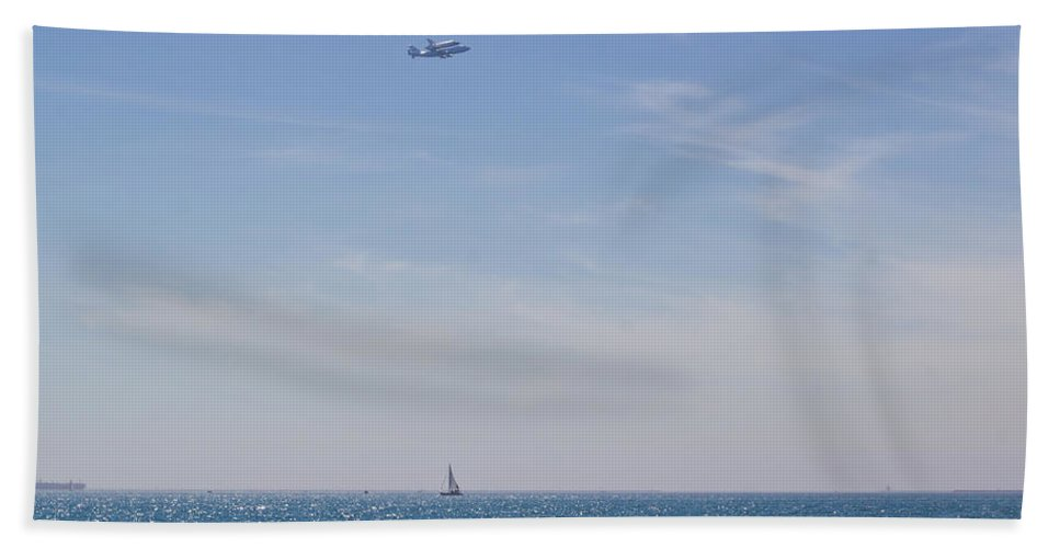 Space Hand Towel featuring the photograph Space Shuttle Flyover by Heidi Smith