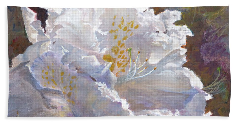 Hand Towel featuring the painting Sparkling by Mohamed Hirji
