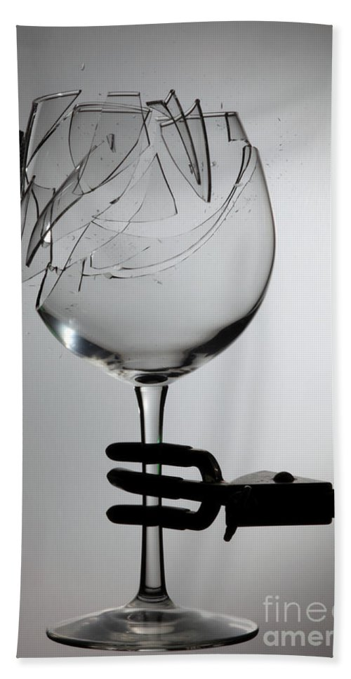 Physics Hand Towel featuring the photograph Speaker Breaking A Glass With Sound by Ted Kinsman