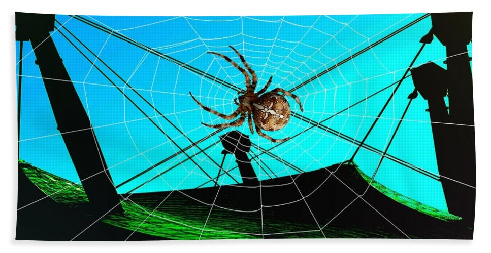 Spider Bath Sheet featuring the digital art Spider On The Olympic Roof by Helmut Rottler