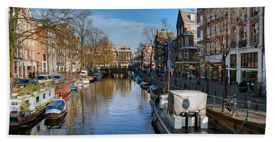 Holland Amsterdam Hand Towel featuring the photograph Spiegelgracht And Ship Amsterdam by Juan Carlos Ferro Duque