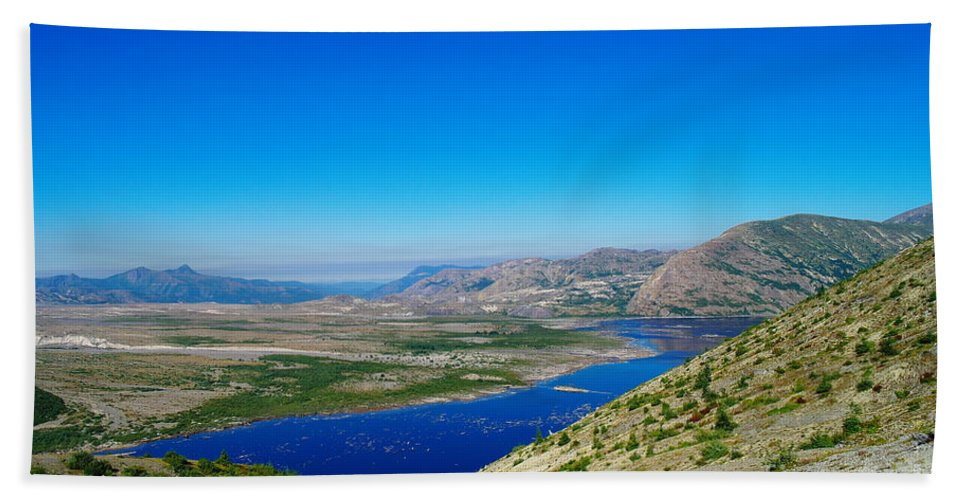 Lake Hand Towel featuring the photograph Spirit Lake From Windy Point by Jeff Swan