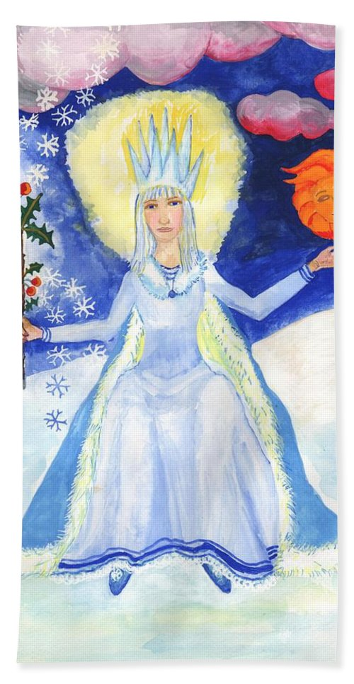 Winter Bath Sheet featuring the painting Spirit Of Winter by Sushila Burgess