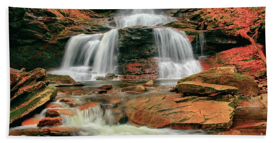 Ricketts Glen Hand Towel featuring the photograph Split Up The Middle by Adam Jewell