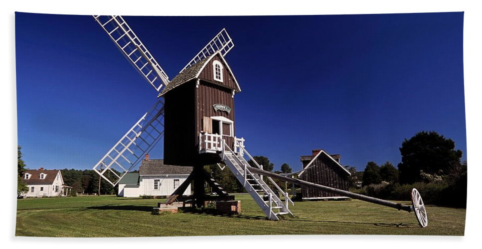 Spocott Windmill Hand Towel featuring the photograph Spocott Windmill by Sally Weigand