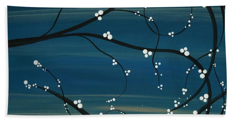 Japanese Bath Sheet featuring the painting Spring Blossoms by Katie Slaby
