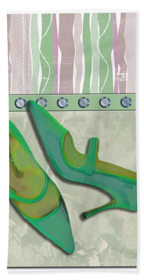 Shoes Heels Pumps Fashion Designer Feet Foot Shoe Stilettos Painting Paintings Illustration Illustrations Sketch Sketches Drawing Drawings Pump Stiletto Fetish Designer Fashion Boot Boots Footwear Sandal Sandals High+heels High+heel Women's+shoes Graphic Sophisticated Elegant Modern Hand Towel featuring the painting Spring Green Stripes And Rivets by Elaine Plesser