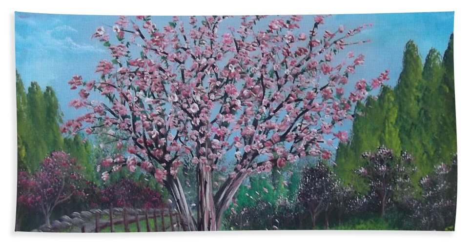 Spring Bath Sheet featuring the painting Spring Tree by Bruno Patriarca