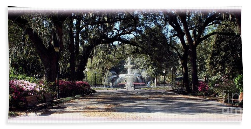 Forsyth Park Bath Sheet featuring the photograph Spring Walk Through Forsyth Park by Carol Groenen
