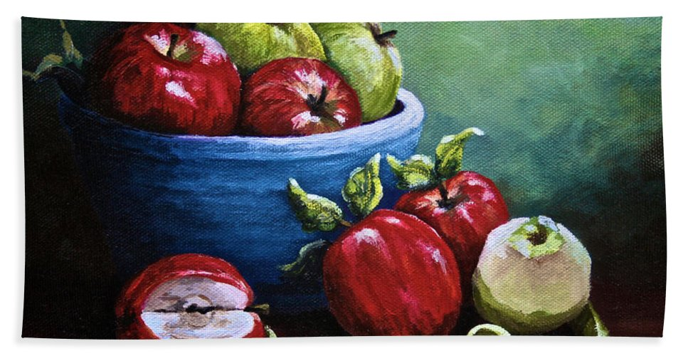 Still Life Bath Sheet featuring the painting Srb Apple Bowl by Susan Herber