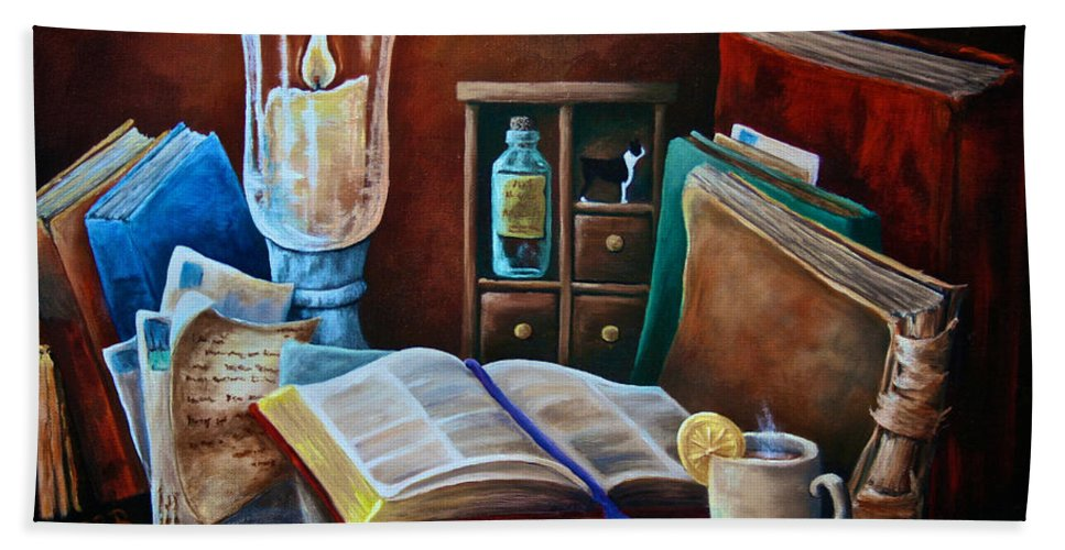 Still Life Bath Sheet featuring the painting Srb Candlelit Library by Susan Herber