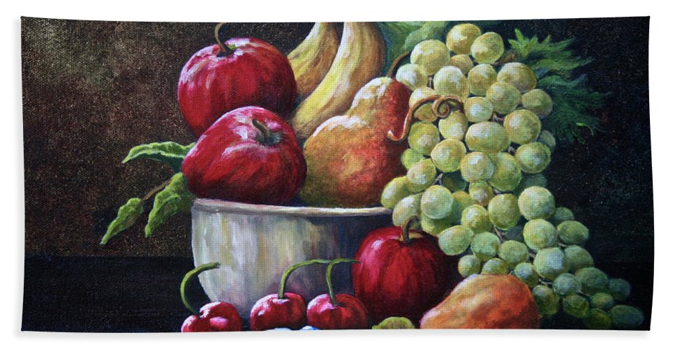Fruit Bath Sheet featuring the painting Srb Fruit Bowl by Susan Herber