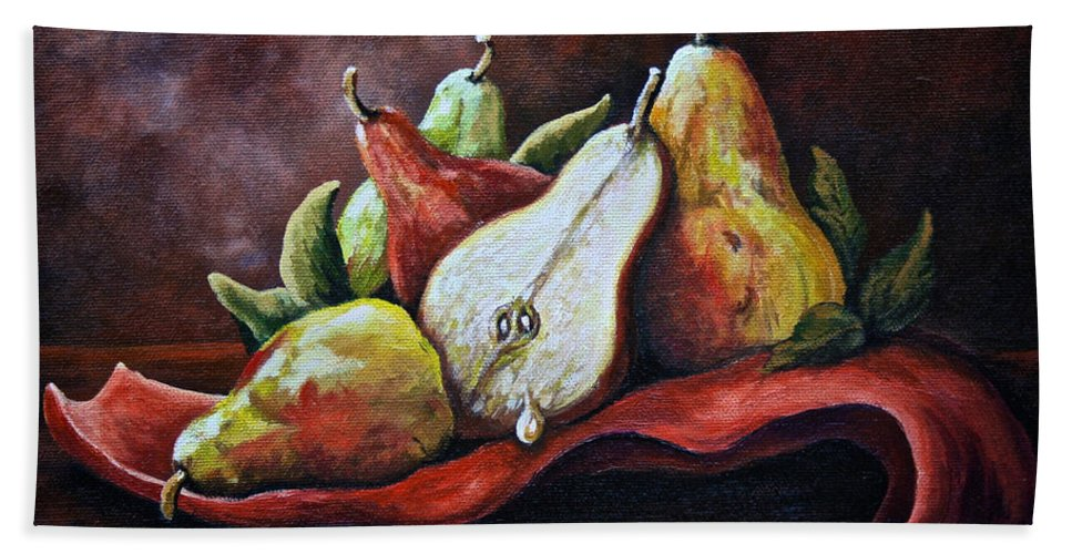 Still Life Bath Sheet featuring the painting Srb Pears by Susan Herber
