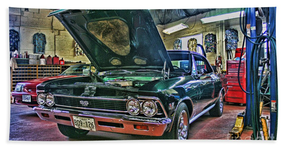 Cars Hand Towel featuring the photograph Ss In The Shop Hdr by Randy Harris