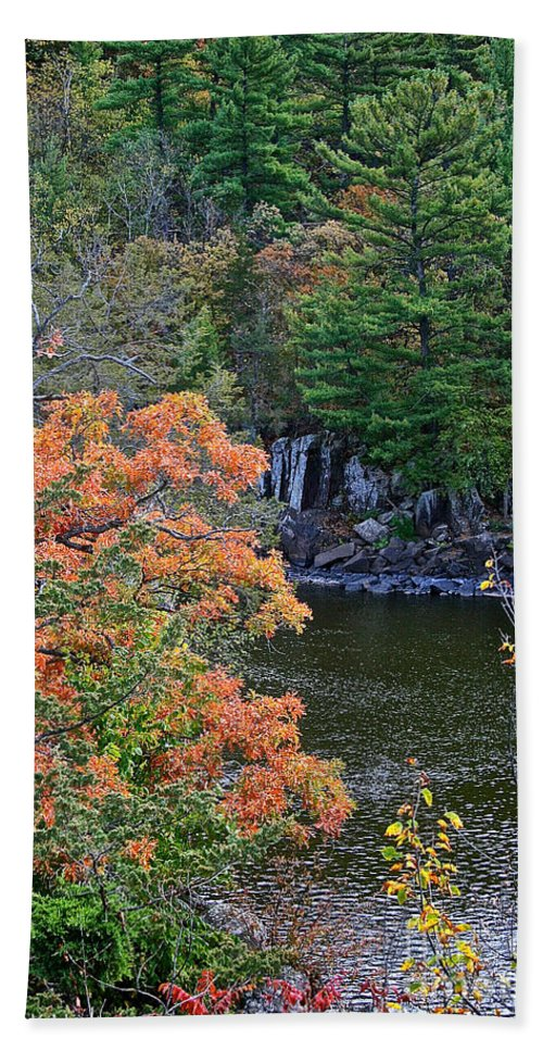 Landscape Hand Towel featuring the photograph St Croix River by Susan Herber
