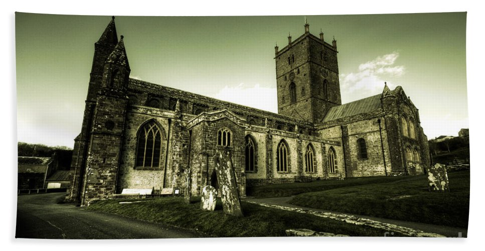 St Davids Bath Sheet featuring the photograph St Davids Cathedral by Rob Hawkins