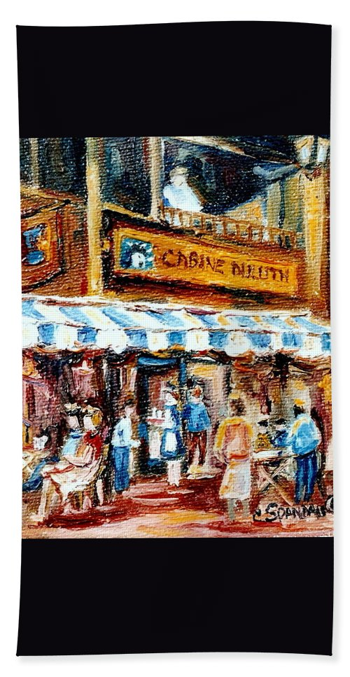 Montreal Bath Sheet featuring the painting St. Denis And Prince Arthur Montreal Cafe Scene by Carole Spandau