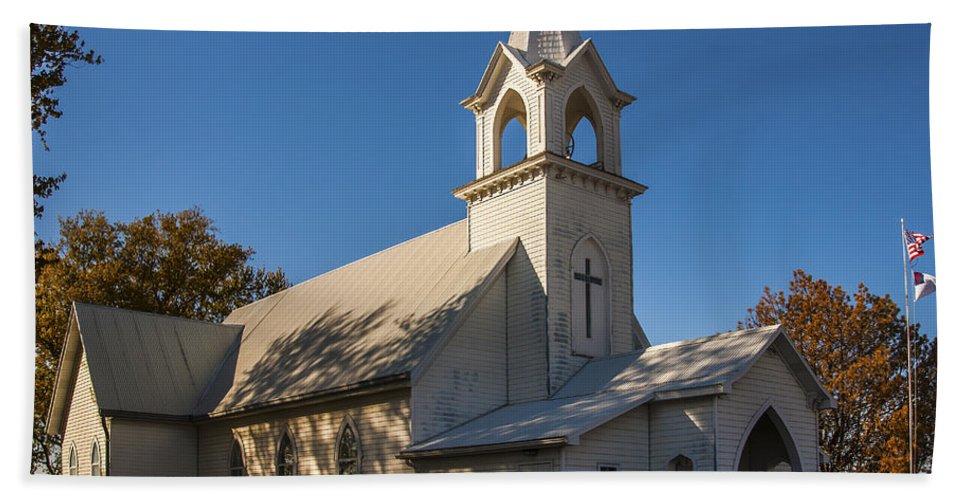 Rural Church Hand Towel featuring the photograph St. John's Lutheran Church by Edward Peterson
