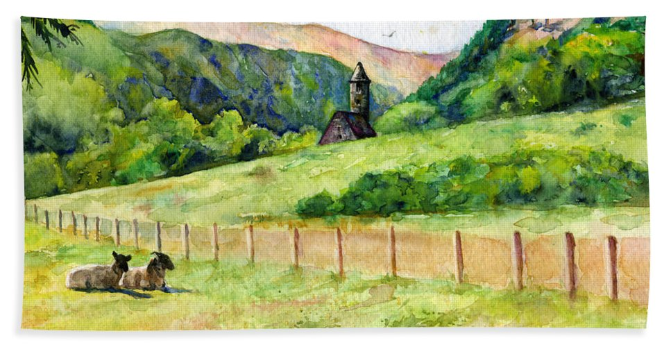 Ireland Bath Sheet featuring the painting St. Kevin's And Wicklow Mountians by John D Benson