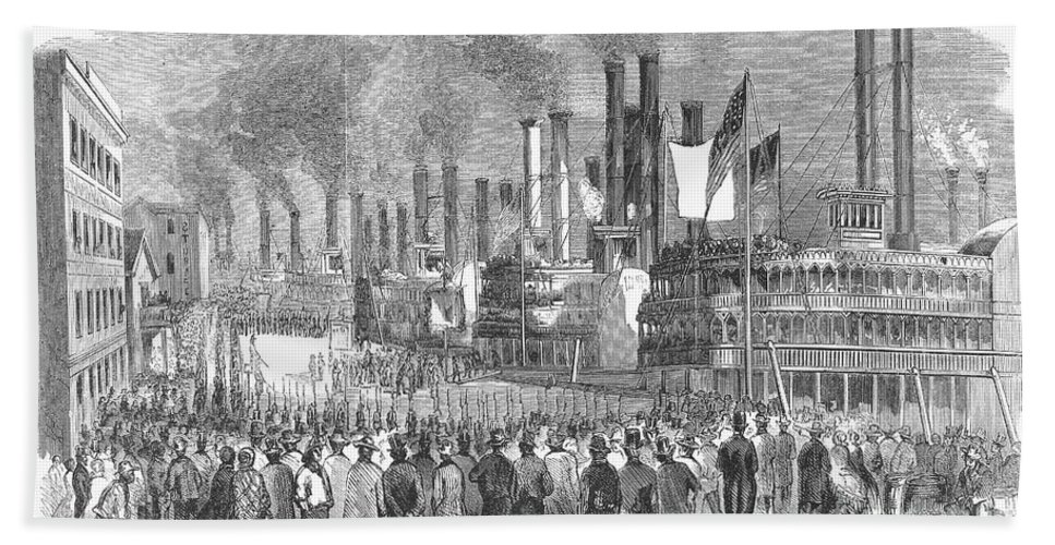 1857 Hand Towel featuring the photograph St. Louis: Steamboats, 1857 by Granger