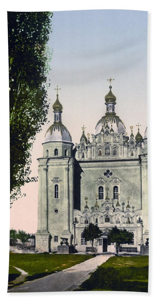 st. Paul Hand Towel featuring the photograph St Paul And St Peter Cathedrals In Kiev - Ukraine - Ca 1900 by International Images